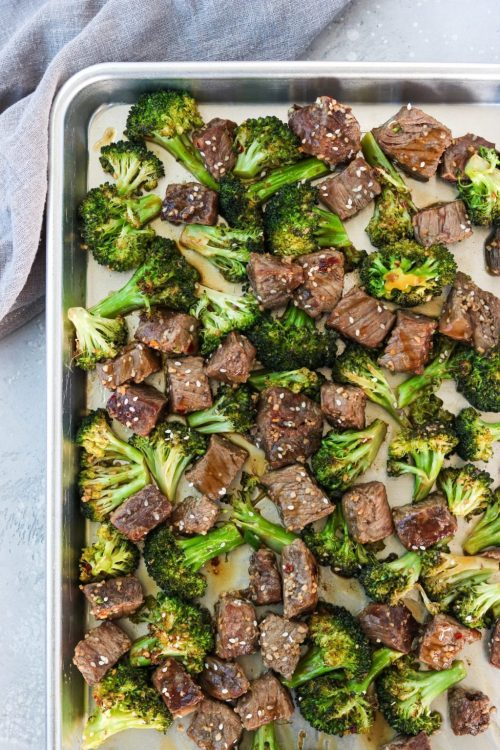 beef and broccoli on a sheet pan