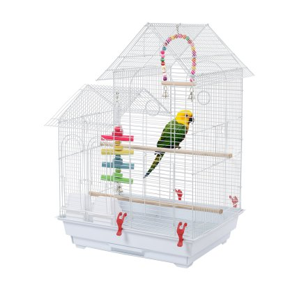 """30"""" Metal Bird Cage with Two Additional Toys, White"""