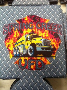 spring creek fire coozie