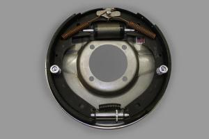 Lincoln rear backing plates and brakes with emergency brake