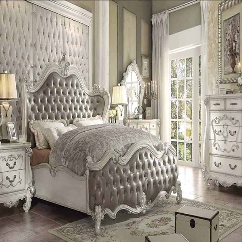 Vintage King Bedroom Sets Cool Bedroom Decorating Ideas Yellow Bedroom Bench Bedroom Ceiling Design With Fan: Formal 4 Piece Vintage Gray Bedroom Set Acme