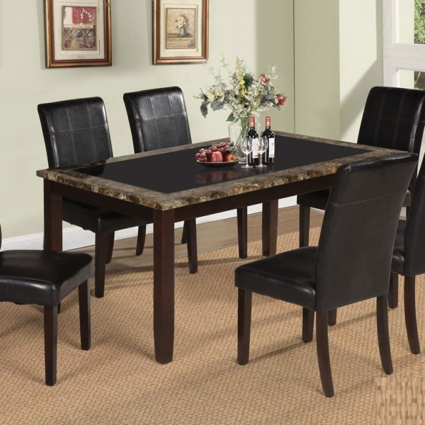 Rolle Traditional Design Dining Chair Table Marble Top 71065