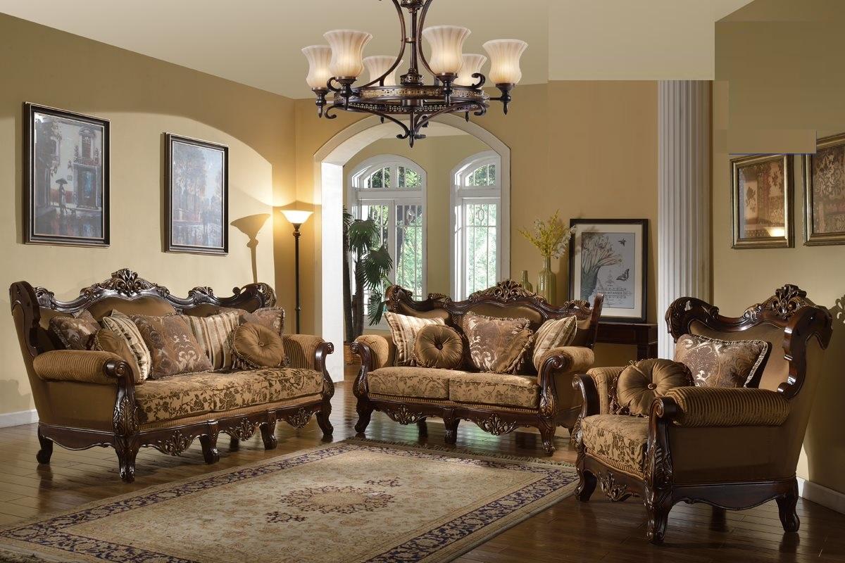 Charmant Brown Fabric Traditional Sofa Set Formal Sofa Loveseat Chair