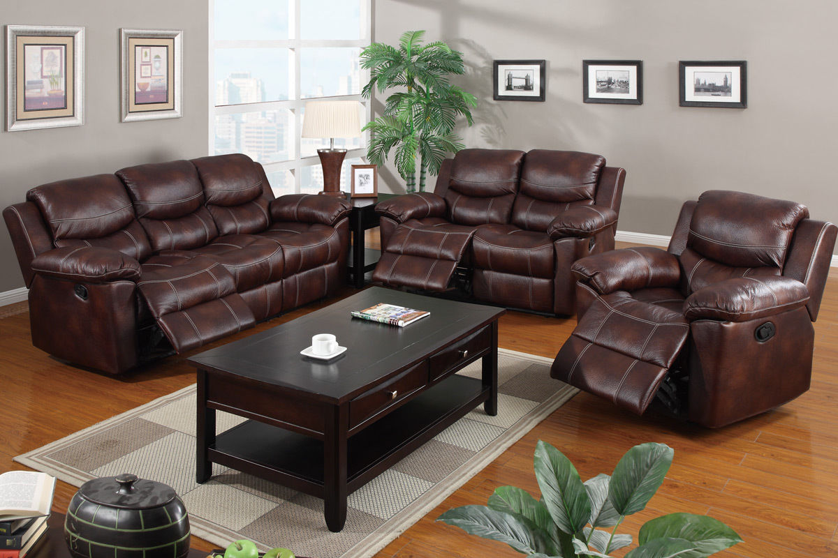 leather reclining 3pc sofa set poundex f7067 hot sectionals. Black Bedroom Furniture Sets. Home Design Ideas