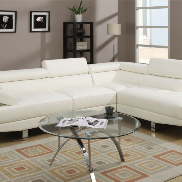 White Leather Sectional Sofa Set Chaise Modern Couch #F7320