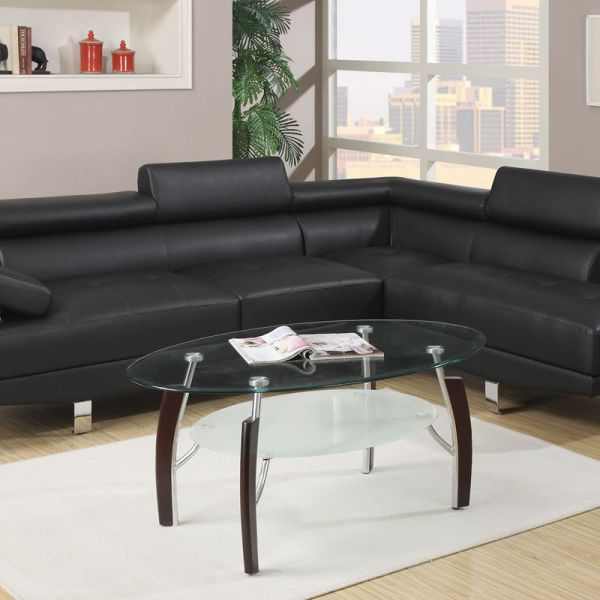 Poundex Sectional White Leather Sofa Chaise: Modern Black Leather Sectional Sofa Poundex #F7310