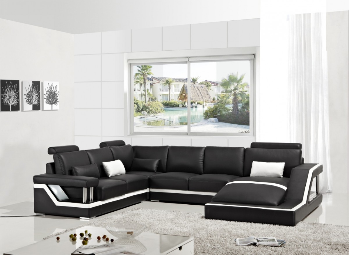 Black Leather Modern Sectional Sofa Chaise VIG Furniture #VGYIT271