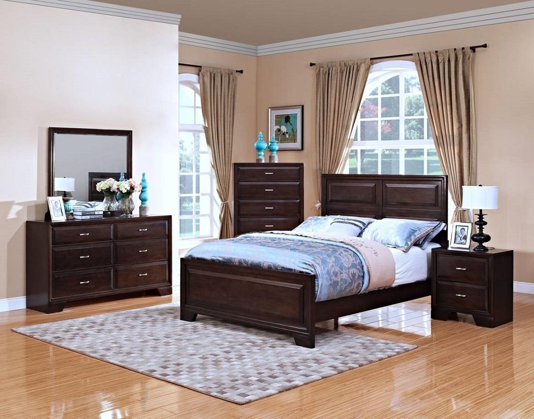 Transitional 1p Western King Size Hardwood Bedroom