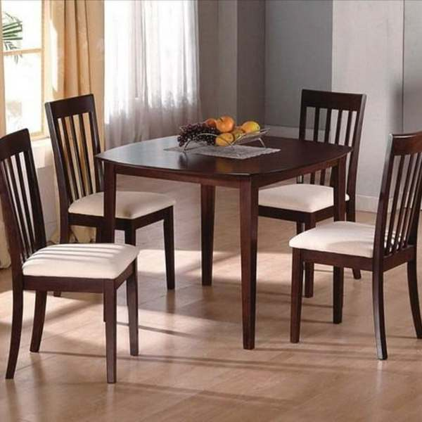 Modern Style Dining Room 5pc Set Table w/4 Chairs Curved Back Fabric Seat  Vertical Back Dinette Furniture