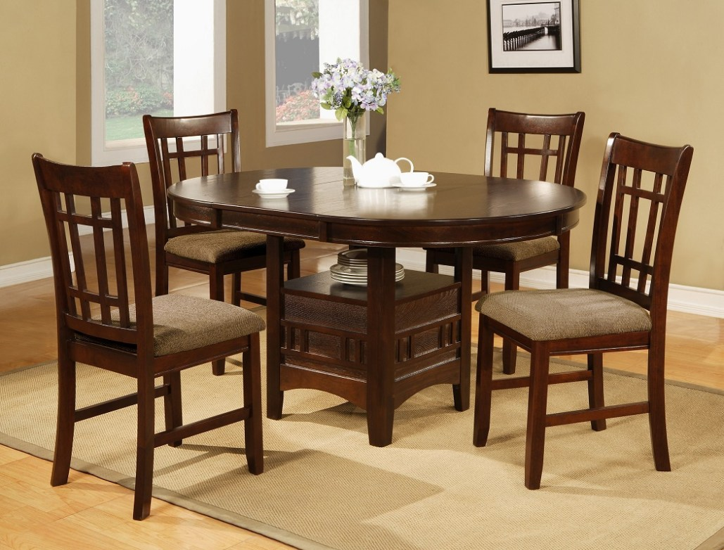 5 Pieces Dining Set Table w/ LEAF & 4 Side Chairs Fabric Seat Transitional  Design Espresso Dining Furniture