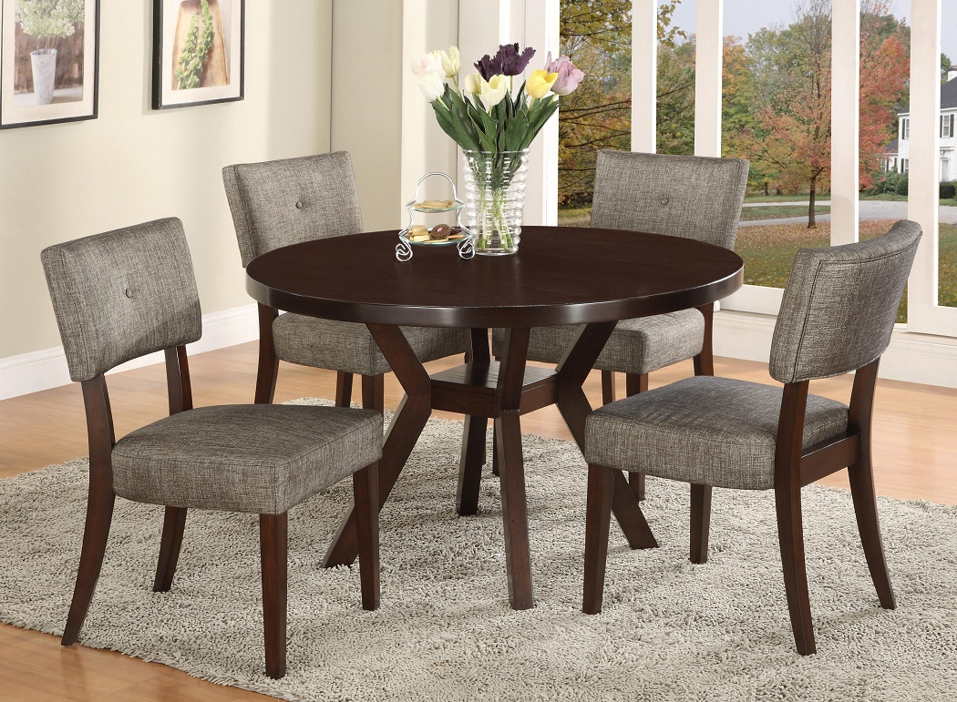 Contemporary Style Dining Table Woodgrain Round Shape & Parsons Chairs  Fabric Home Furniture
