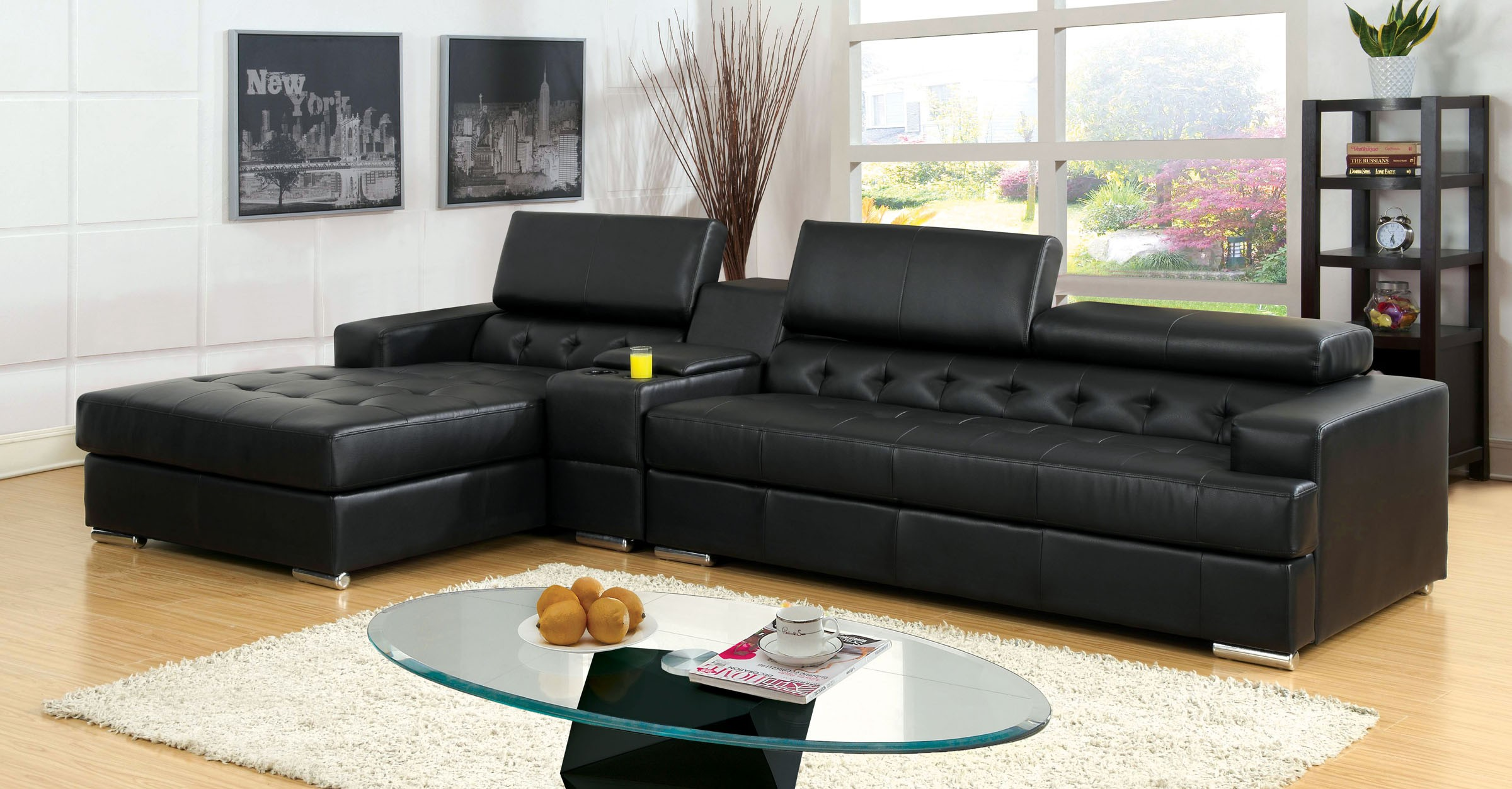 Contemporary Living Room Sectional W Storage Console Black Bonded Leather Chaise