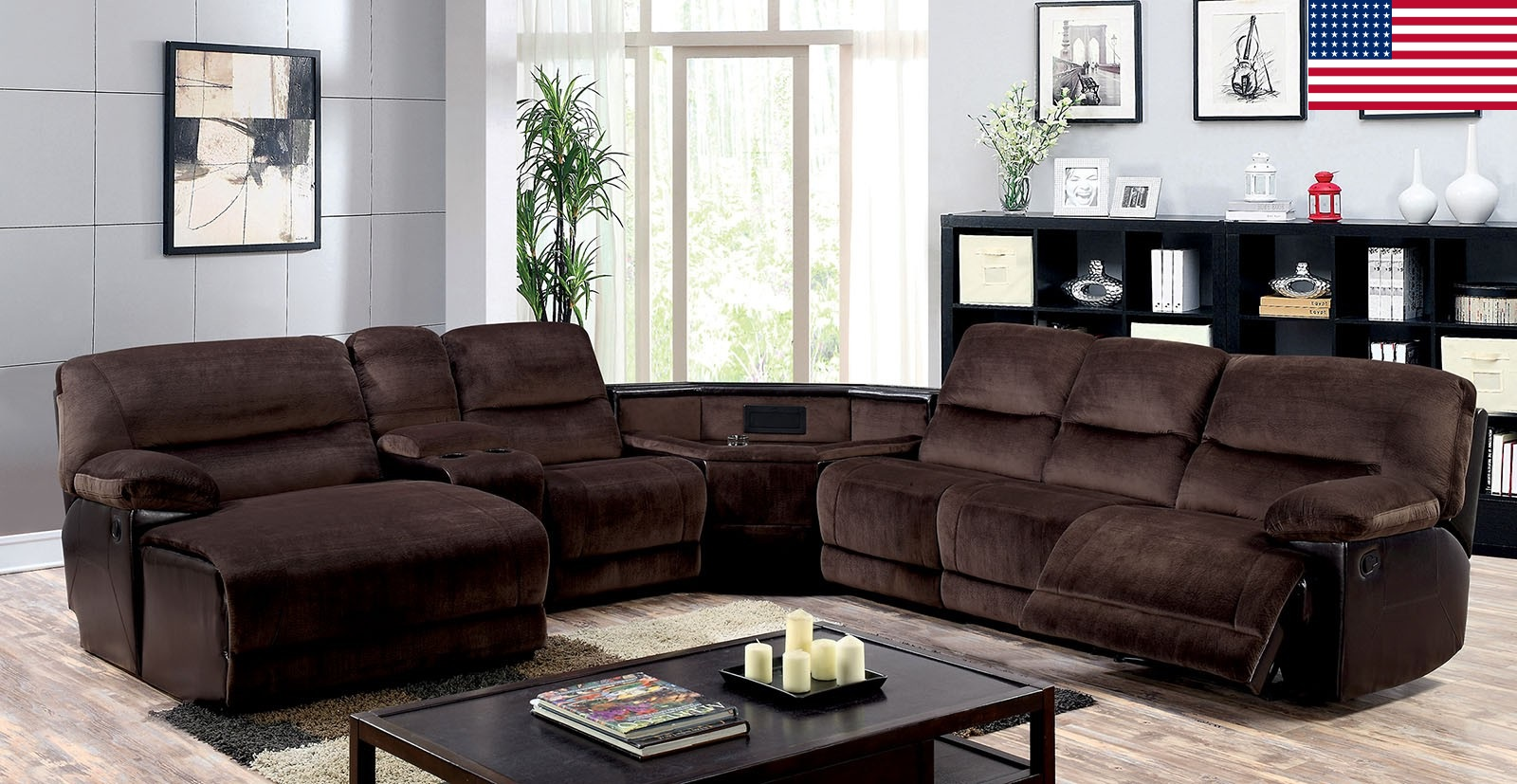sectional recliner console wedge push back chaise brown microfiber made in usa