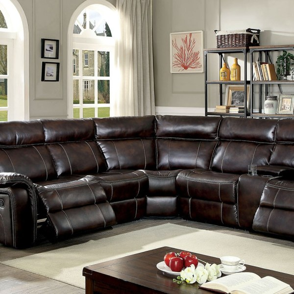 B751 Transitional Reclining Sectional With Storage Console: Recliner Motion Brown Sectional Console FOA