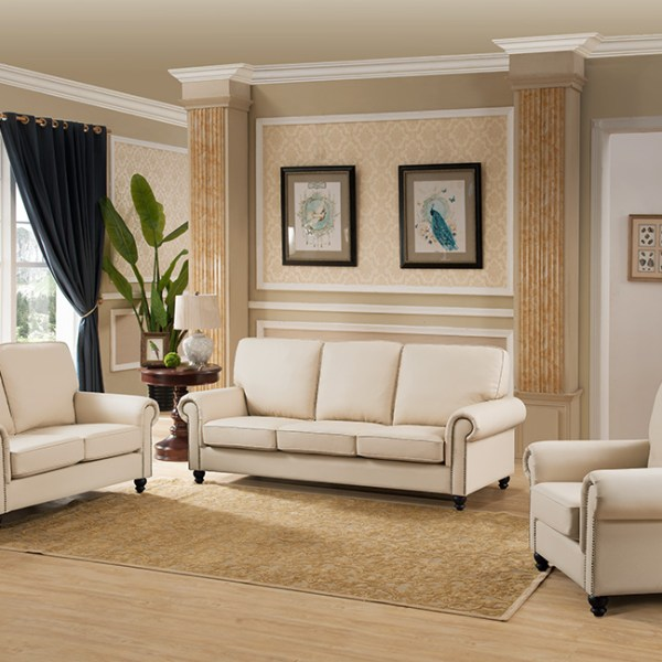Cream Color Fabric Living Room 3pc Sofa Set Contemporary Sofa Loveseat &  Chair