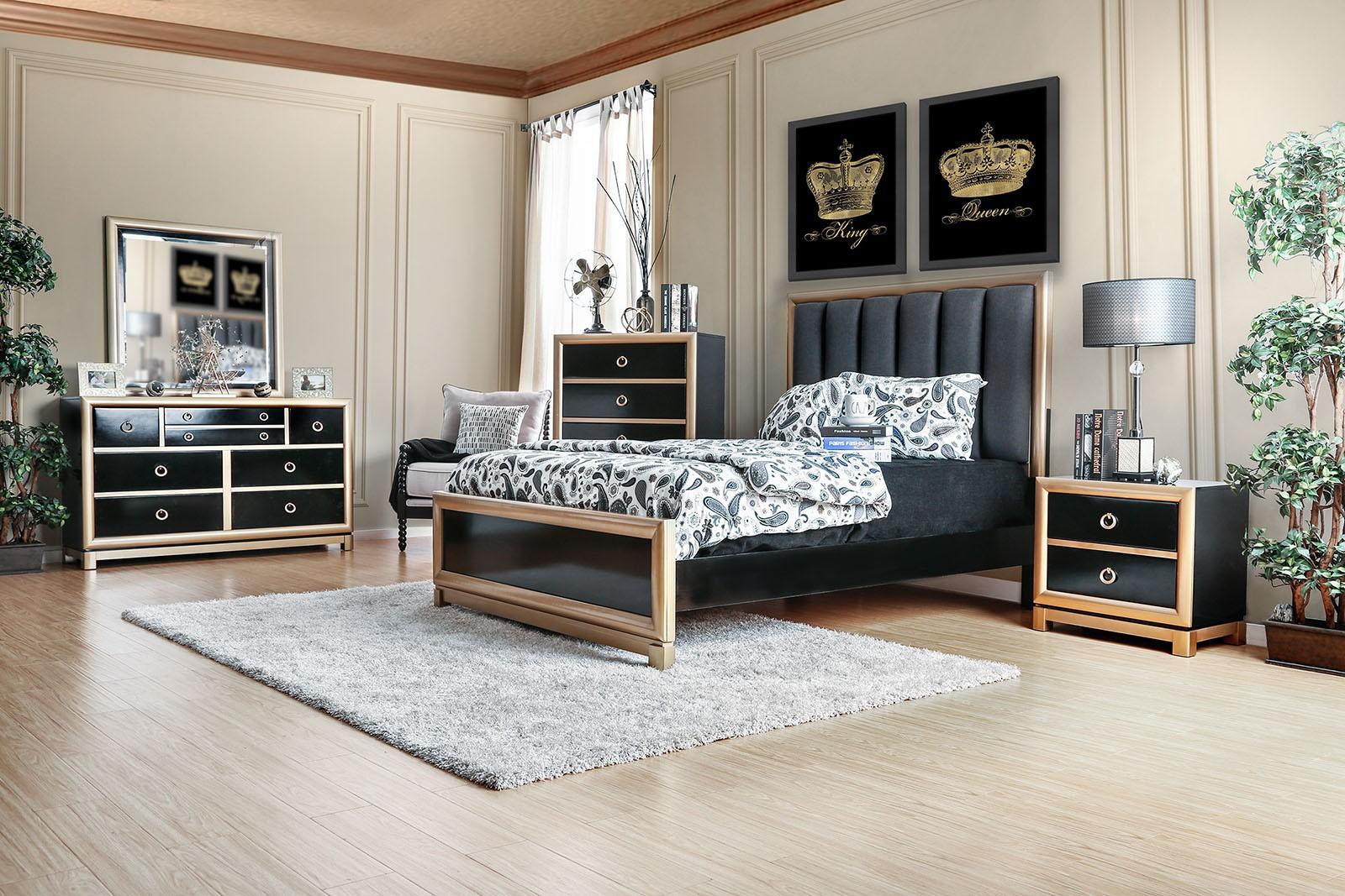 Black And Gold Color Est King Size Bed Dresser Mirror Nightstand 4pc Bedroom Set