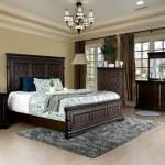 Walnut Queen 4 Pieces Bedroom Set Modern Bed Dresser Nightstand Mirror Family Home Enjoy