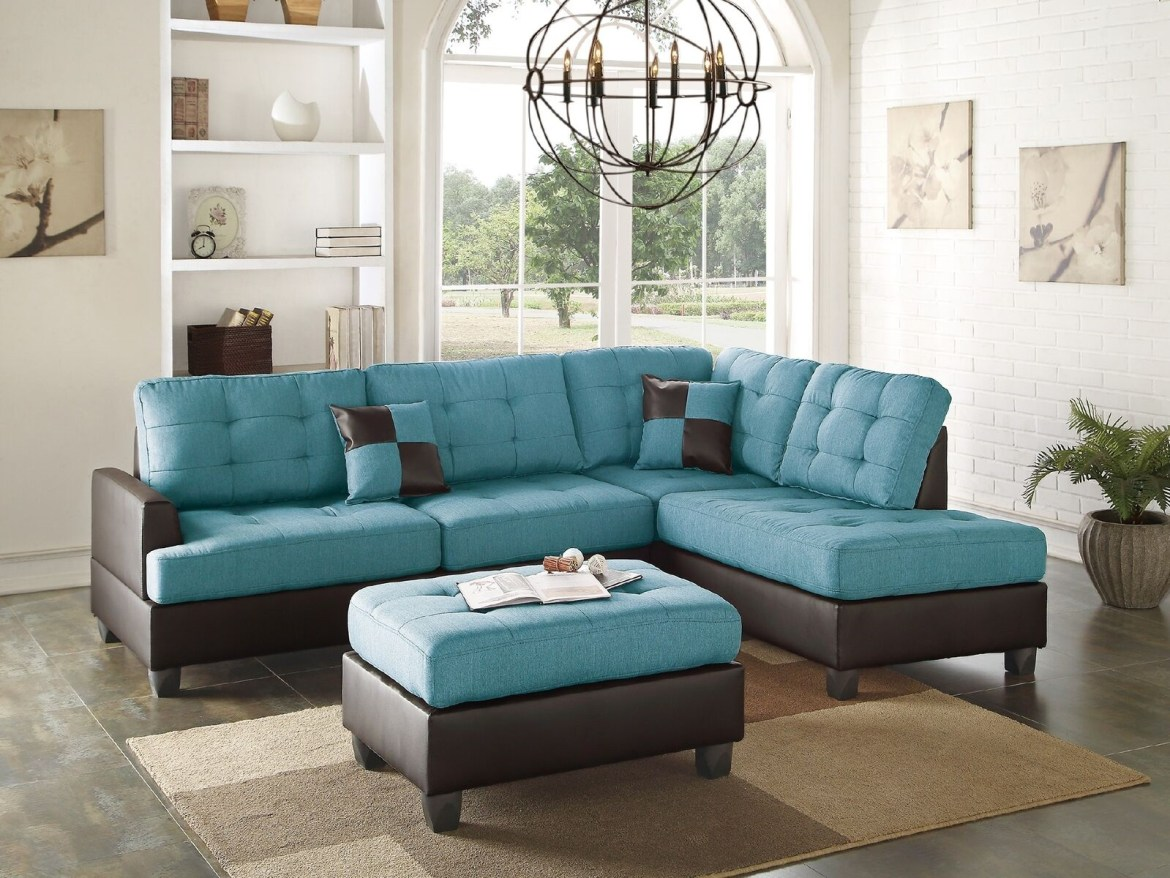 Teal Linen Sectional Sofa Chaise Ottoman Hot Sectionals
