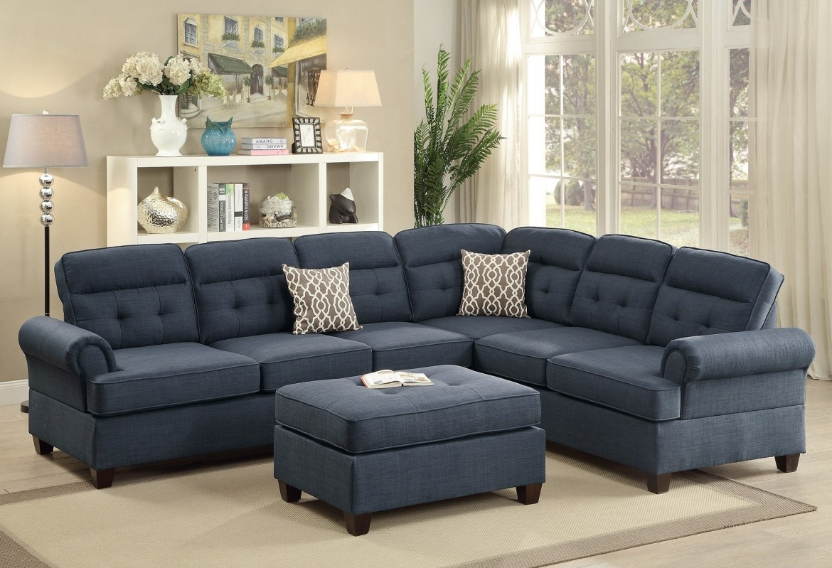 Sectional Blue Fabric Sofa Loveseat Wedge | Hot Sectionals