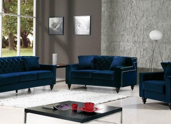 Modern Style 3pcs Sofa Set Tufted Designer Navy Velvet Fabric Sofa  w/Nailhead Trim NEW!