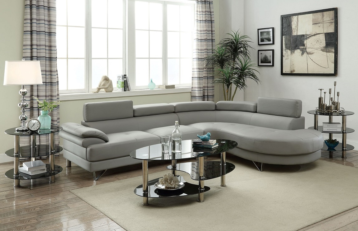 Grey Color Sectional Sofa Faux Leather Sofa Chaise Living Room Furniture  Couch #F6984