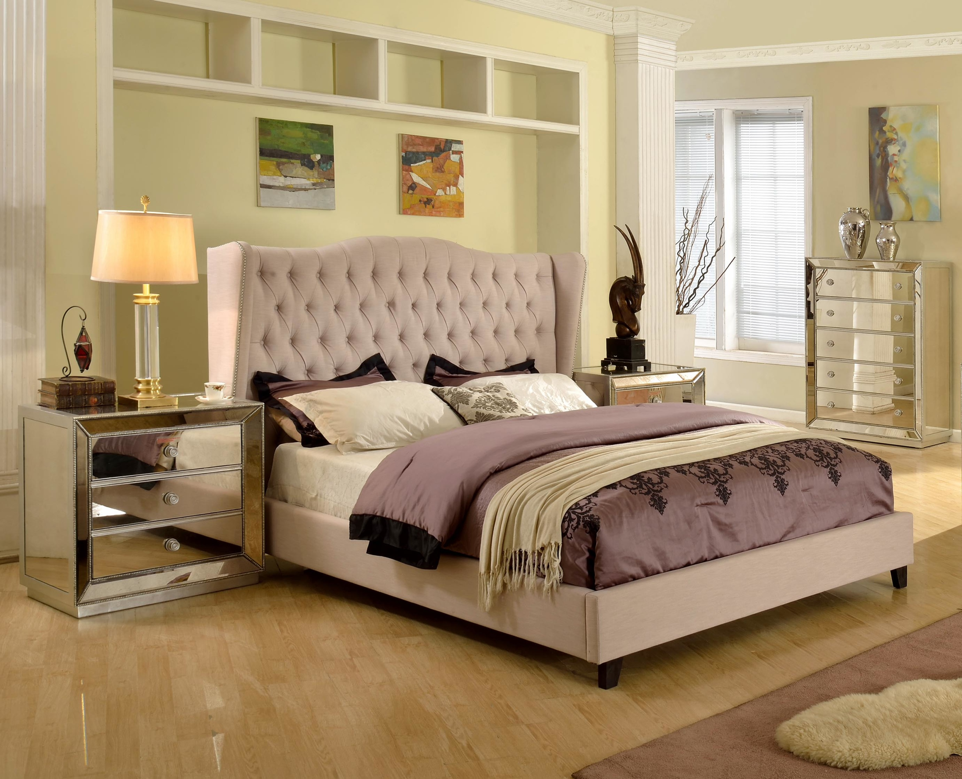 Contemporary Taupe Est King Size Bedroom Bed
