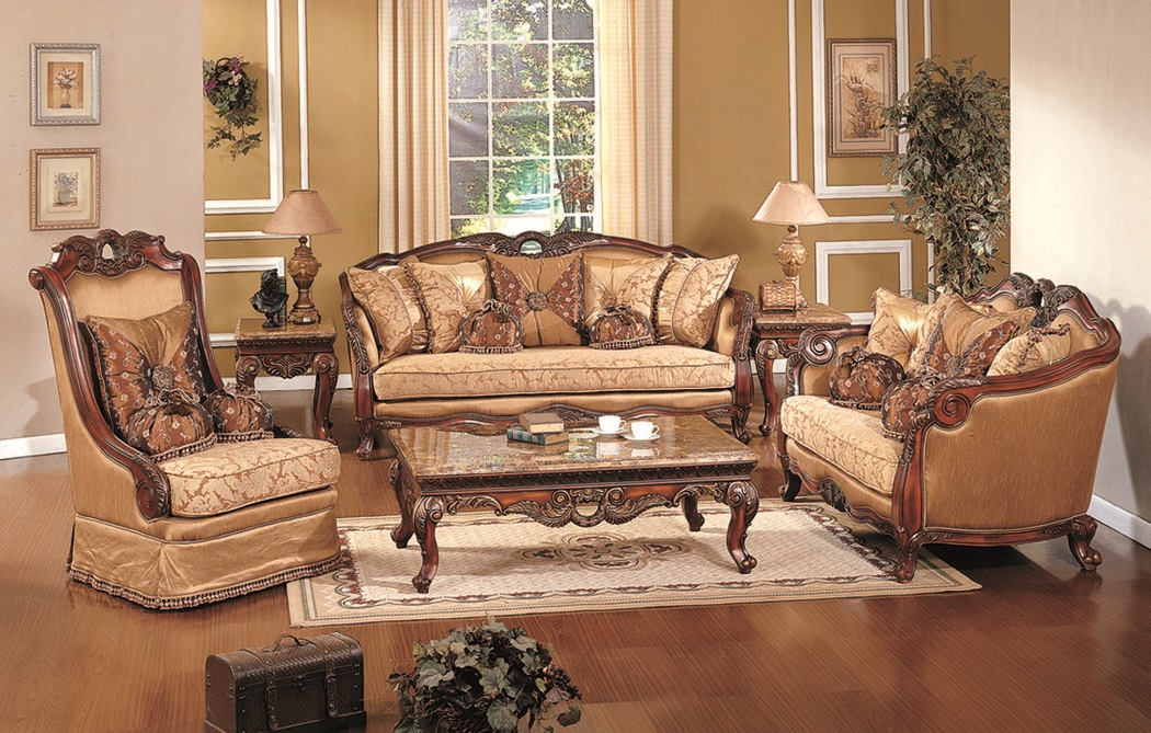 Superbe 3pc Sofa Traditional Living Room Furniture Olive Copper Fabric Cherry Gold  Trim
