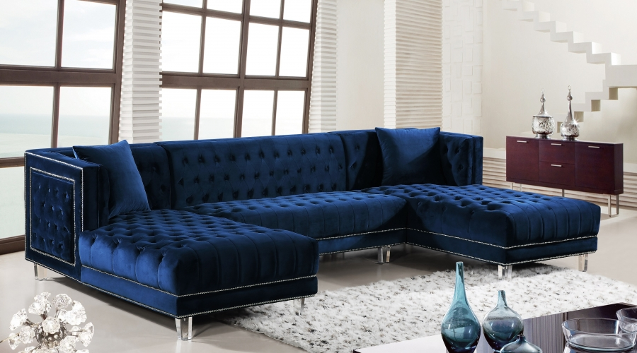 Luxurious Design Acrylic Legs Living Room Furniture Tufted Sectional Sofa  Navy Blue