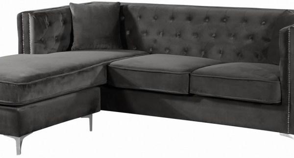 Meridian Furniture Jesse Modern Grey Velvet Reversible Sectional Sofa Set  #668