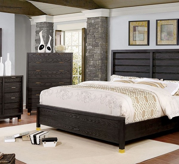 Transitional Queen Size 4pc Bedroom Home Furniture Solid Wood Walnut Finish