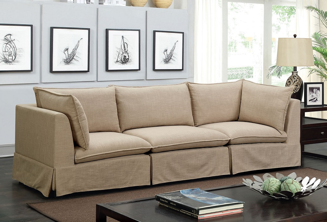 Beige Soft Linen Like Fabric 3pc Sectional Sofa Set Modular Design Living  Room