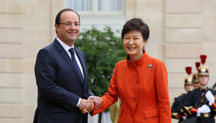 Francois Hollande and Park Geun-hye