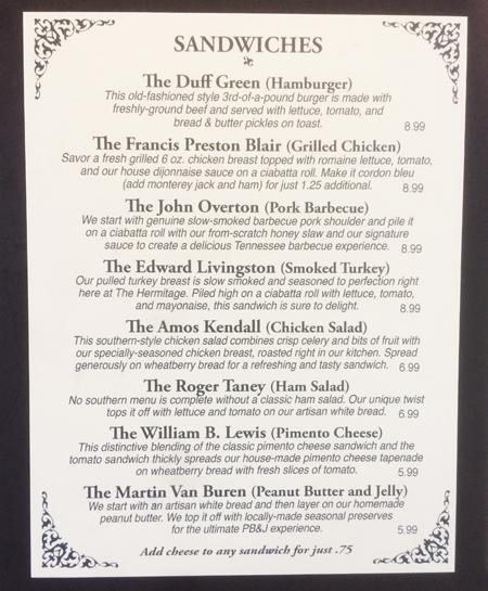 The Hermitage menu