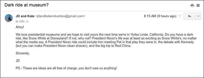 Nixon musuem email screenshot