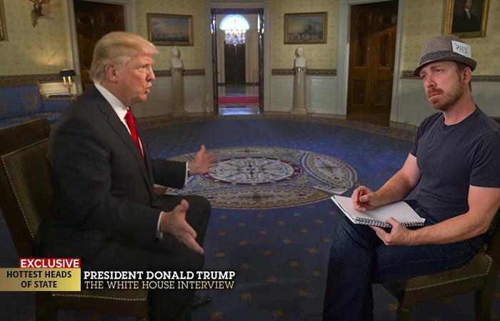 JD pretend to interview Donald Trump