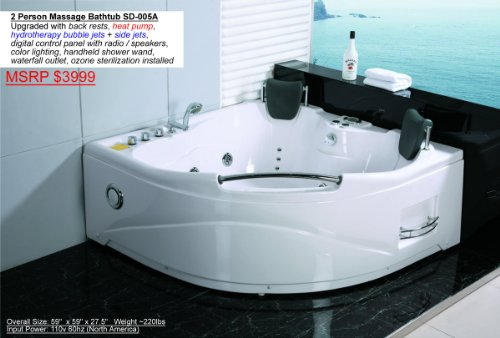 2 Person Whirlpool White Corner Bathtub Spa With 11