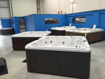 Inside our hot tub showroom