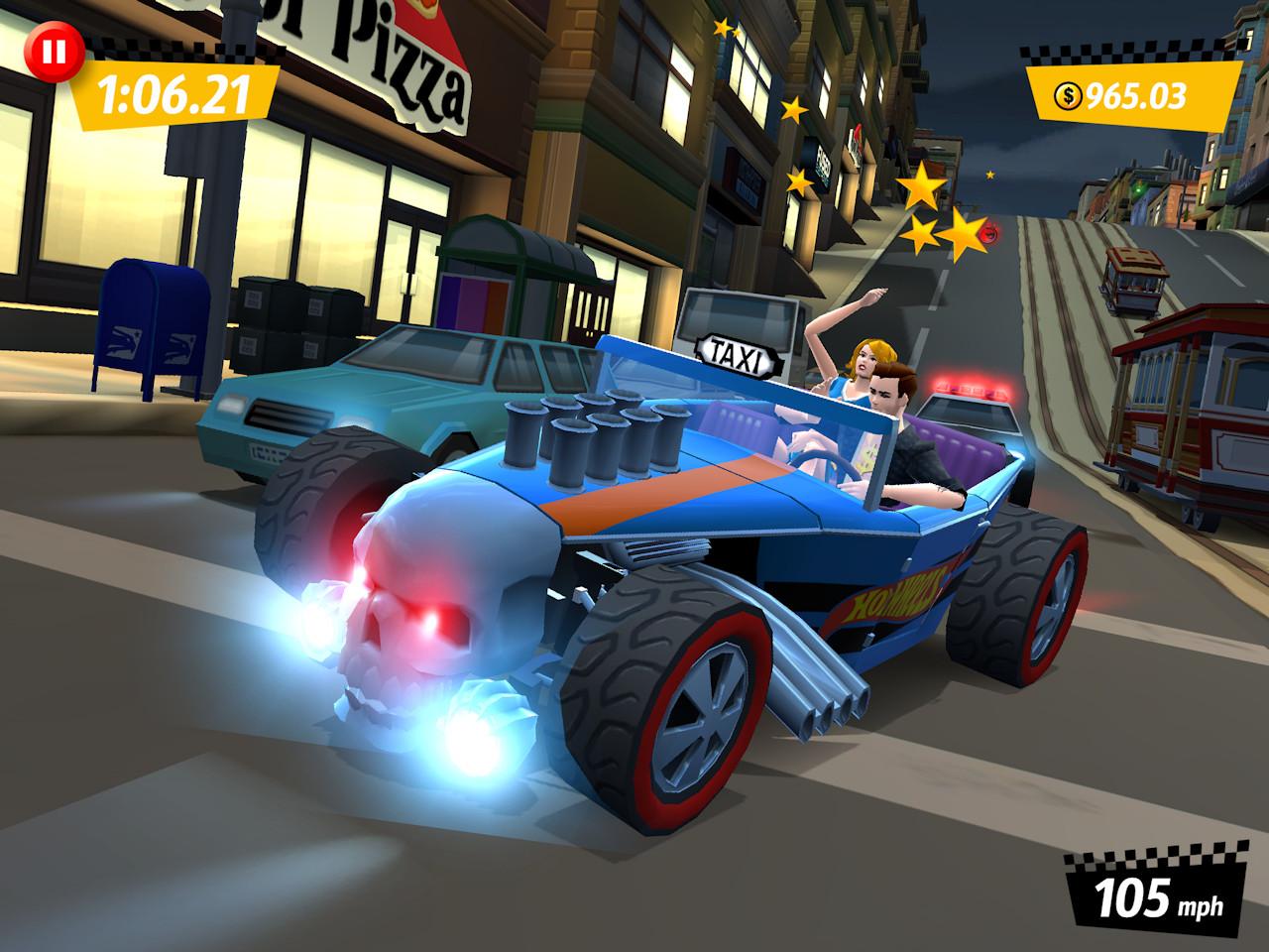 Des Hot wheels dans Crazy Taxi City Rush