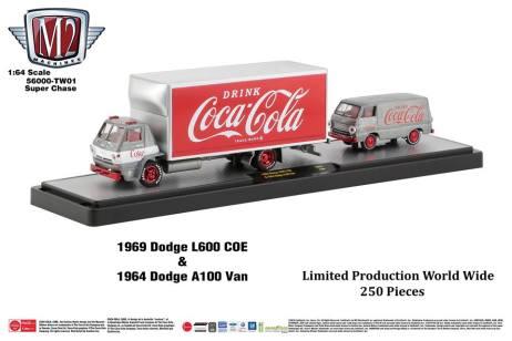 M2-Machines-Coca-Cola-Hauler-line-1969-Dodge-L600-COE-1964-Dodge-A100-Van