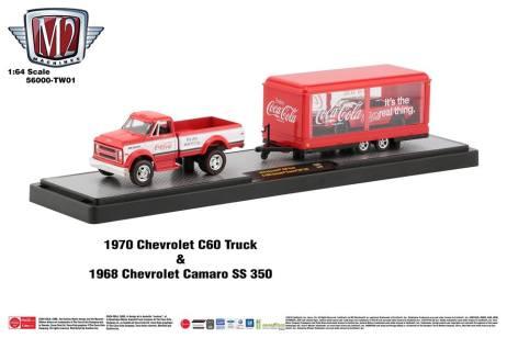 M2-Machines-Coca-Cola-Hauler-line-1970-Chevrolet-C60-Truck-1968-Chevrolet-Camaro-SS-350-Chase-Trailer