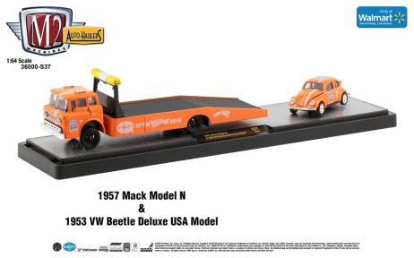 M2-Machines-Auto-Haulers-Walmart-1957-Mack-Model-N-1953-Volkswagen-Beetle-Deluxe-USA-Model