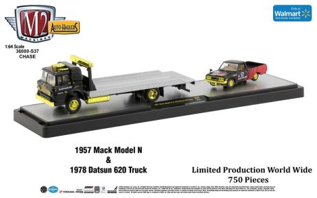M2-Machines-Auto-Haulers-Walmart-1957-Mack-Model-N-1978-Datsun-620-Truck-Chase