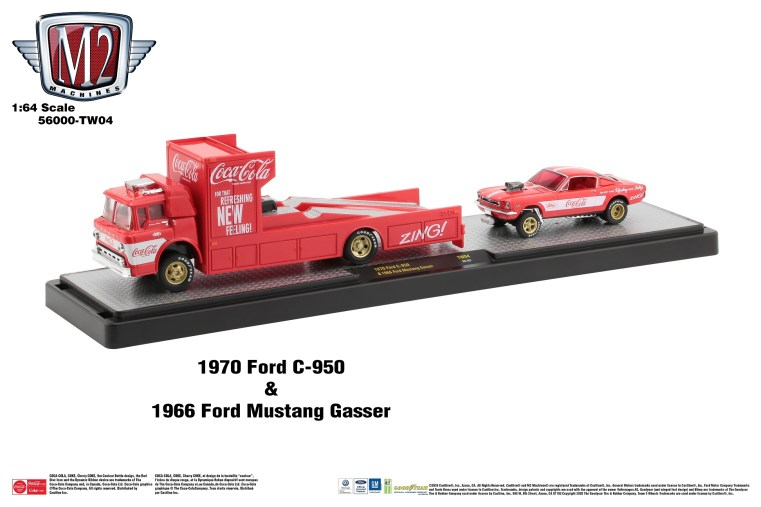 M2-Machines-Coca-Cola-haulers-1970-Ford-C-950-1966-Gasser-Ford-Mustang-Coca-Cola