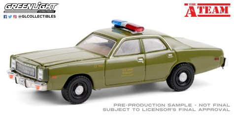 GreenLight-Collectibles-Hollywood-27-The-A-Team-1977-Plymouth-Fury-US-Army-Police