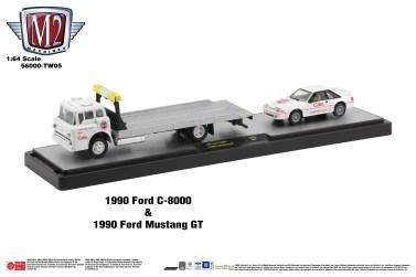 M2-Machines-Coca-Cola-Auto-Haulers-1990-Ford-C-8000-1990-Ford-Mustang-GT-Coca-Cola