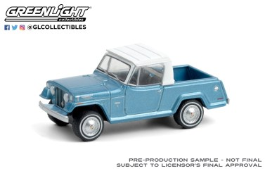 GreenLight-Collectibles-Blue-Collar-8-1970-Jeepster-Commando-Pickup-Light-Blue-Metallic-with-White-Roof