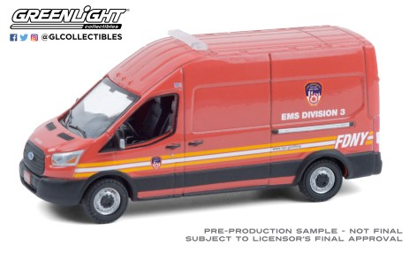 GreenLight-Collectibles-Route-Runners-2-2019-Ford-Transit-LWB-High-Roof-FDNY