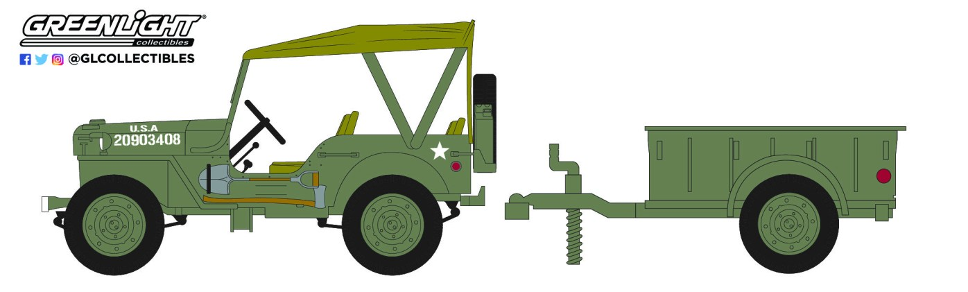 GreenLight-Collectibles-Hitch-and-Tow-22-1943-Willys-MB-Jeep-1-4-Ton-Cargo-Trailer
