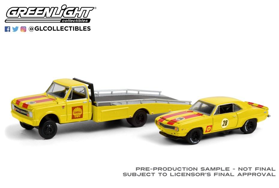 GreenLight-Collectibles-HD-Trucks-20-1967-Chevrolet-C-30-Ramp-Truck-1969-Chevrolet-Camaro-Shell-Oil
