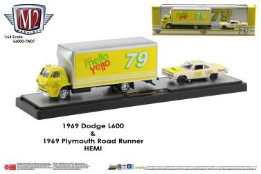 M2-Machines-Coca-Cola-haulers-1969-Dodge-L600-1969-Plymouth-Road-Runner-Mello-Yello